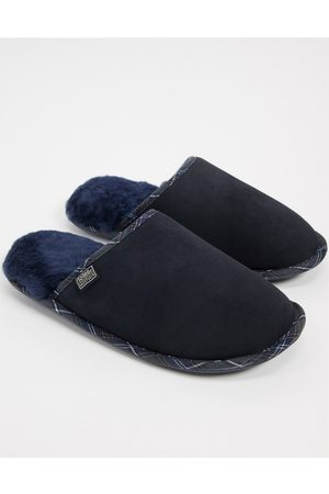 Sheepskin by Totes Suede mule slippers in navy plaid-Tan