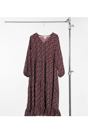 Glamorous Maxi wrap smock dress in maroon floral