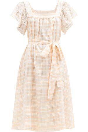 Lisa Marie Fernandez Muu Muu Square-neck Check Cotton-blend Dress - Womens - Stripe