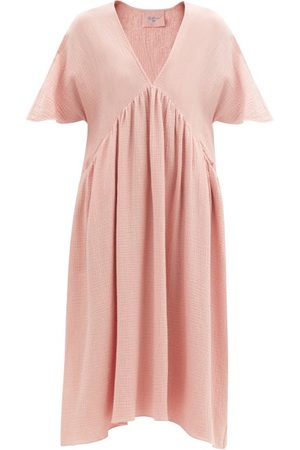 Loup Charmant Riva V-neck Cotton-gauze Midi Dress - Womens - Light