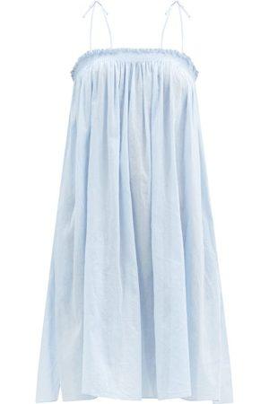 Loup Charmant Rimi Shirred Organic-cotton Dress - Womens - Light
