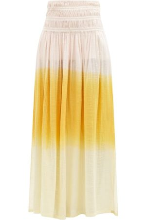 Anaak Women Maxi Skirts - Gioia Ruched Dip-dyed Cotton Maxi Skirt - Womens - Multi