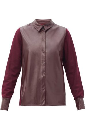 Roksanda Women Shirts - Paden Faux-leather And Jersey Shirt - Womens - Burgundy