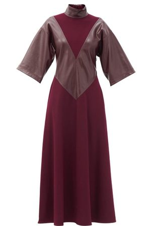 Women Casual Dresses - Roksanda - Erdea Faux-leather Panelled Wool-jersey Maxi Dress - Womens - Burgundy