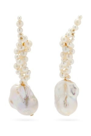 COMPLETEDWORKS Gotcha Pearl & 14kt Gold-vermeil Ear Climbers - Womens - Pearl