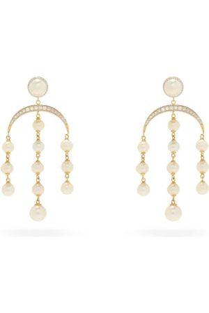 Mateo Crescent Moon Diamond, Pearl & 14kt Gold Earrings - Womens - Pearl