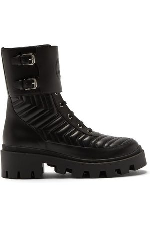 Gucci Chevron-quilted Leather Boots - Womens