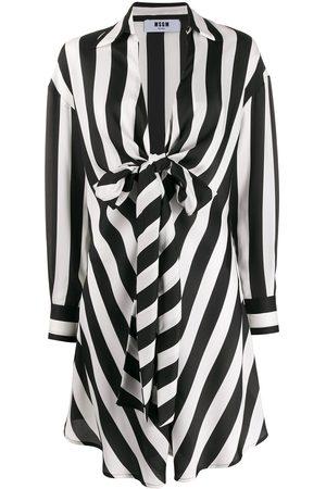 Msgm Women Dresses - Striped tie waist draped dress