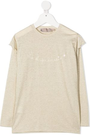 LA STUPENDERIA Logo embroidered long-sleeve top - Neutrals