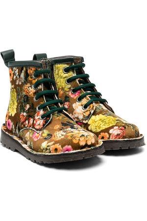 PèPè Girls Ankle Boots - Floral print velvet boots