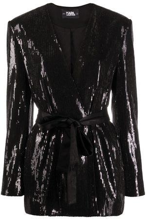 Karl Lagerfeld Belted sequin-embellished jacket