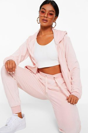 Boohoo Womens Velour Hoodie And Jogger Lounge Set - - 2