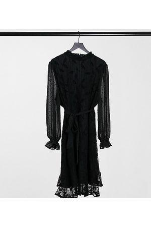 Little Mistress Women Party Dresses - High neck long sleeve lace mini dress with tie belt in