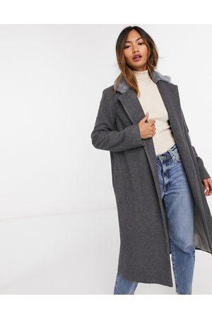 Helene Berman Coats - Long length faux fur trim wool blend coat in