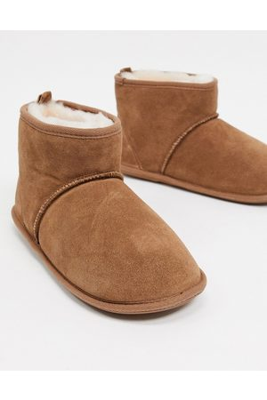 Sheepskin by Totes Suede slipper boots in chestnut-Tan