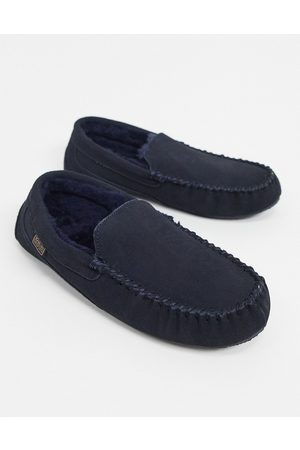 Sheepskin by Totes Loafers - Suede moccasin slippers in navy