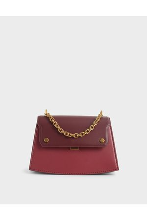 CHARLES & KEITH Two-Tone Chain Handle Crossbody Bag