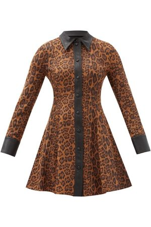 Stand Studio Nara Leopard-print Faux Suede Mini Shirt Dress - Womens - Leopard