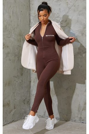 PRETTYLITTLETHING Chocolate Embroidered Zip Front Catsuit