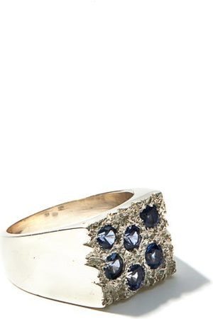 Bleue Burnham Men Rings - Rose Garden Sapphire And Recycled-silver Ring - Mens