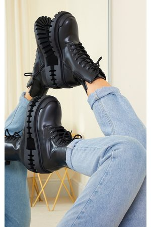 PRETTYLITTLETHING Women Biker Boots - PU Lace Up Extreme Cleat Biker Ankle Boots