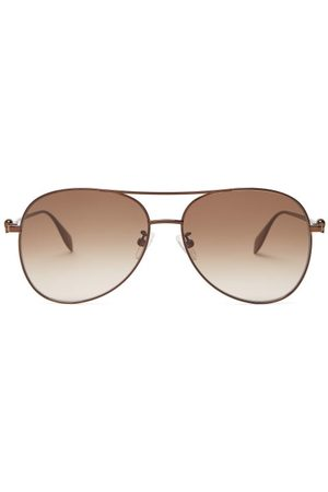Alexander McQueen Skull Aviator Metal Sunglasses - Mens