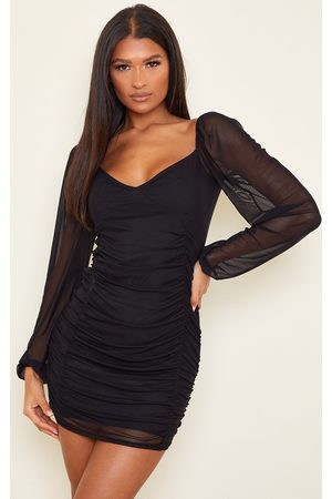 PRETTYLITTLETHING Mesh Double Ruched Long Sleeve Bodycon Dress