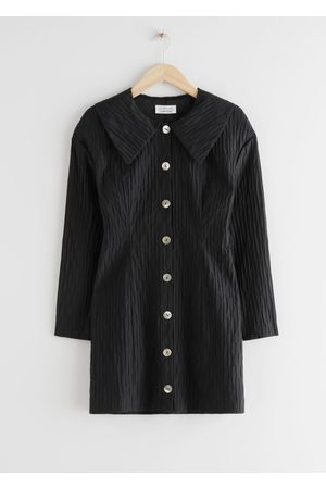 & OTHER STORIES Textured Button Up Hourglass Mini Dress
