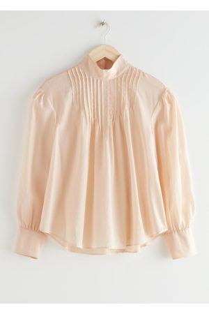 & OTHER STORIES Relaxed High Collar Silk Blend Blouse