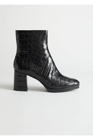 & OTHER STORIES Croc Leather Platform Boots