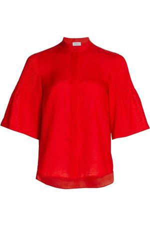AKRIS Women's Linen Pintuck-Sleeve Blouse - - Size 12