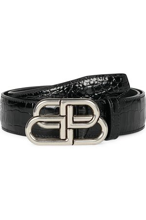 Balenciaga Men Belts - Men's BB Large Crocodile-Embossed Leather Belt - - Size 75 (30)