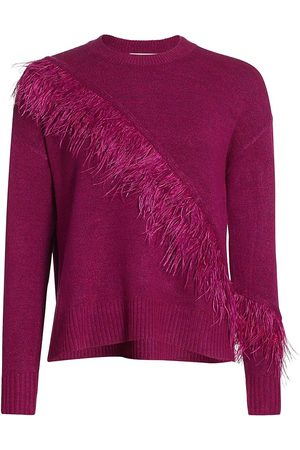 Design History Women's Feather Trim Crew Sweater - - Size Large