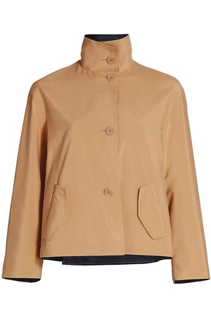 AKRIS Women's Mockneck Reversible Crop Jacket - Tan - Size 18