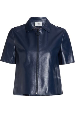 AKRIS Women's Short-Sleeve Leather Zip Jacket - Navy - Size 12