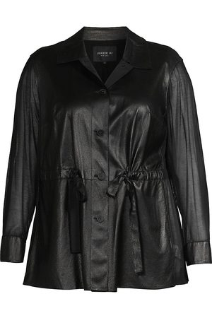 Lafayette 148 New York Women's Connery Ruched Leather Jacket - - Size XL