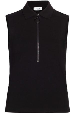 AKRIS Women's Sleeveless Front Zip Polo Shirt - - Size 12