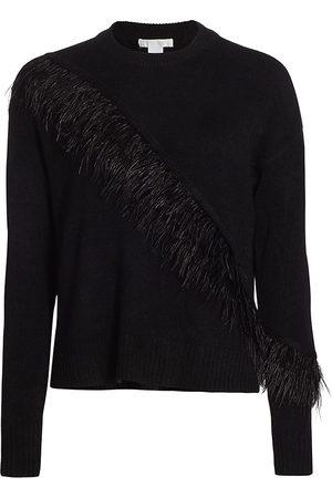 Design History Women's Feather Trim Crew Sweater - - Size Small