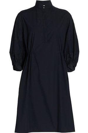 AKRIS Women's Puff-Sleeve Poplin Shirtdress - Navy - Size 16