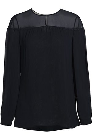 AKRIS Women's Semi-Sheer Keyhole Blouse - - Size 12