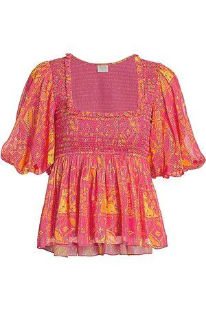 Hemant & Nandita Women's Smocked Puff-Sleeve Top - - Size XS