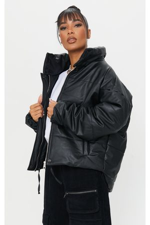 PRETTYLITTLETHING Faux Leather High Collar Drop Arm Oversized Puffer Jacket