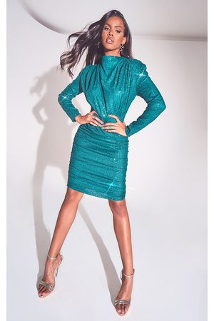 PRETTYLITTLETHING Women Midi Dresses - Emerald Sequin Shoulder Pad Ruched Front Midi Dress