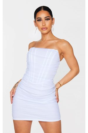 PRETTYLITTLETHING Shape Mesh Corset Detail Ruched Bodycon Dress