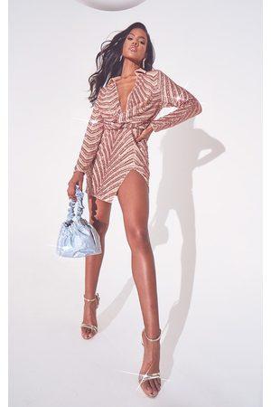 PRETTYLITTLETHING Women Bodycon Dresses - Rose Sequin Embellished Deep Plunge Blazer Style Bodycon Dress