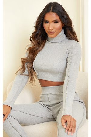 PRETTYLITTLETHING Women Crop Tops - Grey Structured Rib High Neck Stitch Detail Long Sleeve Crop Top