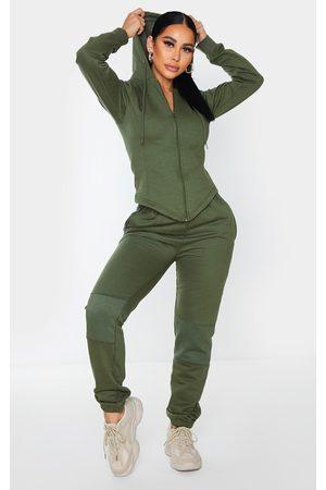 PRETTYLITTLETHING Women Sweatpants - Shape Khaki Panel Detail Joggers
