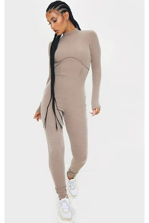PRETTYLITTLETHING Stone Soft Rib Binding Detail High Neck Jumpsuit