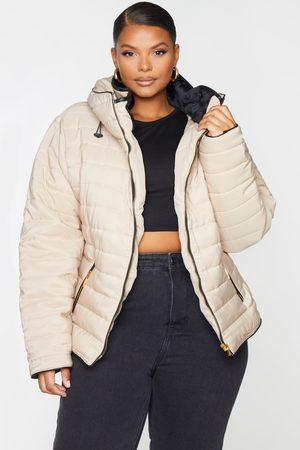PRETTYLITTLETHING Plus Mara Stone Puffer Jacket