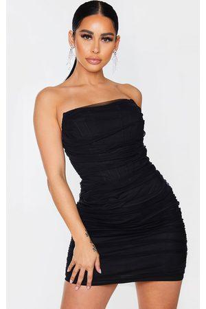 PRETTYLITTLETHING Women Bodycon Dresses - Shape Mesh Corset Detail Ruched Bodycon Dress